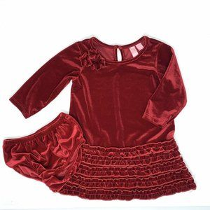 Hype Baby Girls Red Velour Ruffle Dress Holiday Party Size 12 Months